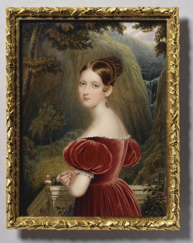 This miniature shows Henry Collen at the height of his accomplishment. The delicacy of the painting of the face and hand are offset by the rigour of the background, with scratching out used to define some of the foliage in the trees. Collen's proximity in style to his teacher, George Hayter, is evident even at this stage of his career, when he was already well established, and in fact the composition is a derivation from Hayter who had chosen to paint the young Princess in a similar pose…