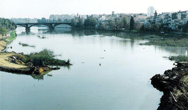 Los últimos restos del tapón de Chapina retirándose para conectar la dársena con el meandro de San Jerónimo  Año 1991