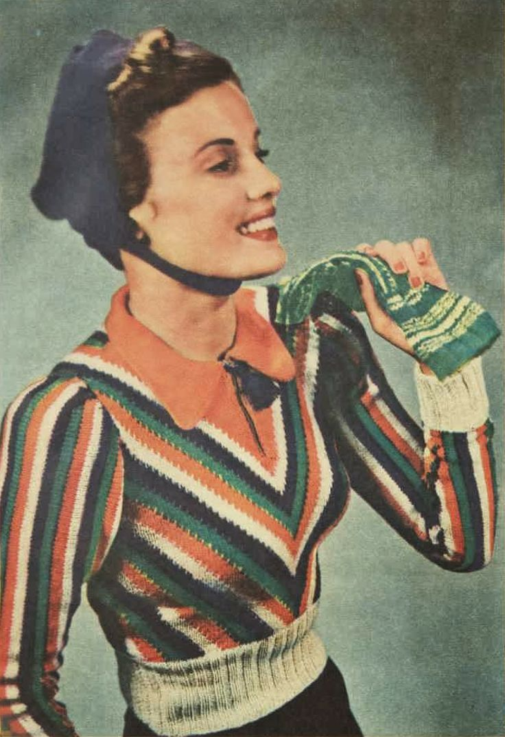 """Sonia"" Free pattern from the Australian Women's Weekly, 1940 knit sweater fashion style color photo print ad model magazine pattern 40s war era green white orange red black"
