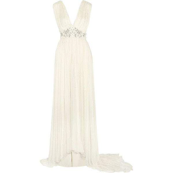 Needle & Thread Embellished chiffon gown ($615) ❤ liked on Polyvore featuring dresses, gowns, white, white chiffon dress, chiffon gown, white gown, white beaded gown and chiffon bridal gowns
