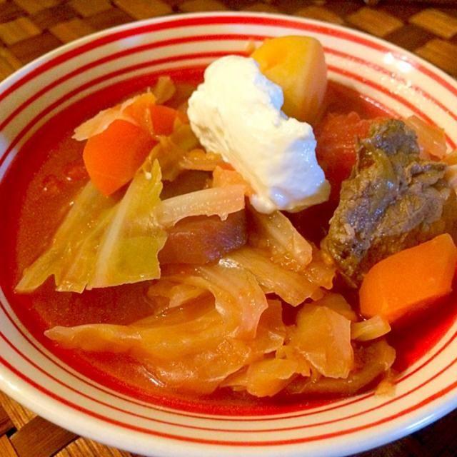 久々食べたくなったボルシチで温まるぅ♨️ - 36件のもぐもぐ - борщ<Borsh>♨️ボルシチ  (代表的ロシアスープ牛肉野菜入り) by honeybunnyb