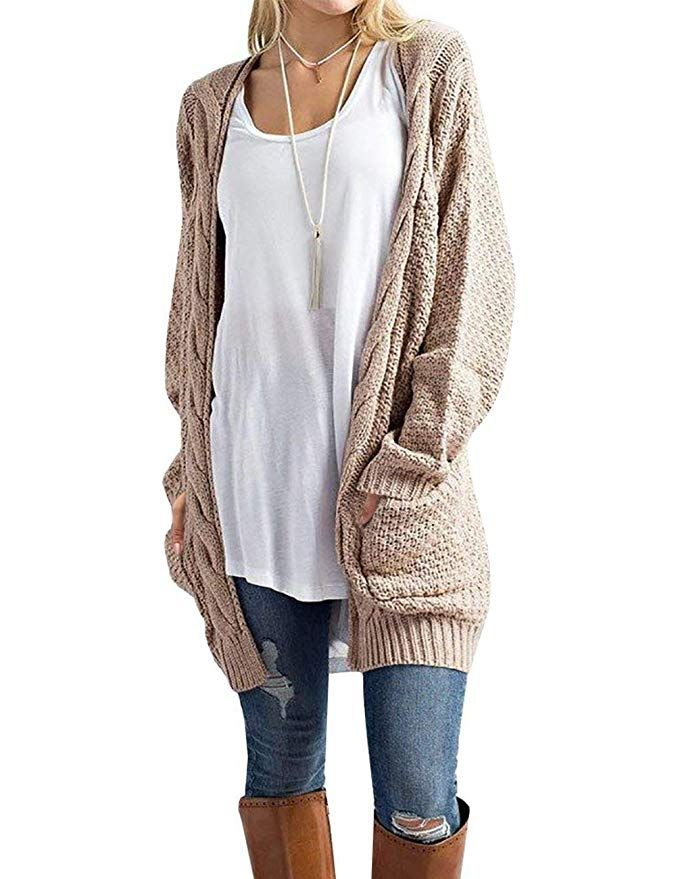 Traleubie Women s Loose Casual Long Sleeved Open Front Breathable Cardigan   2cf2bcb46