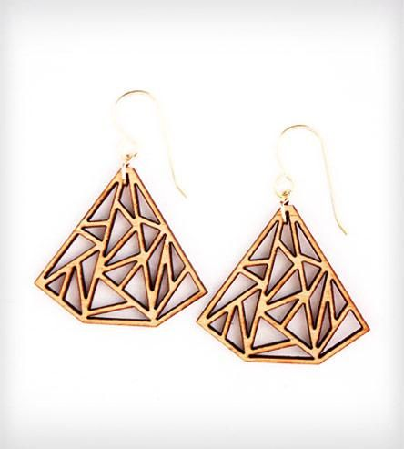 Oh the hipsterness. Cut at the TechShop in SF - Triangle Prism Earrings