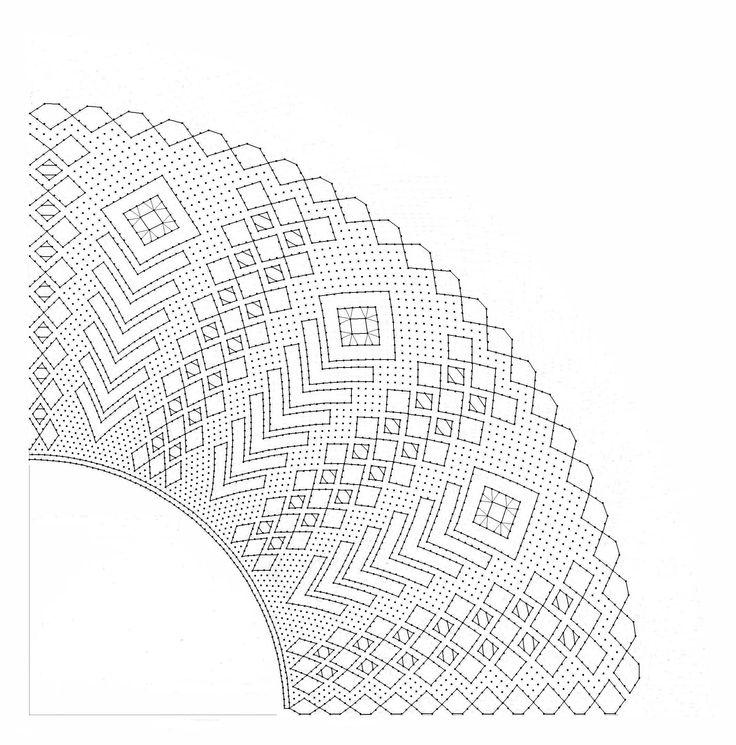 Patrón abanico espigas y rombos. Dibujado 2014