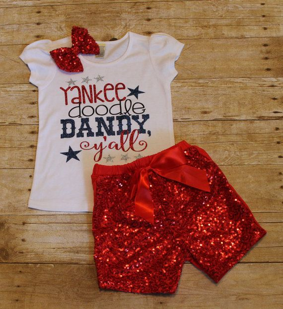 Yankee Doodle Dandy y'all Girls shirt  4th by AKidsDreamBoutique