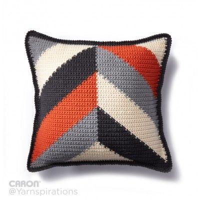 Bold Angles Crochet Pillow Free Crochet Pattern from Caron Yarnspirations