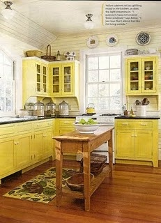 I love the yellow kitchen! I might got with a little more bright of a yellow with pure white (instead of off-white) and more touches of black or blue to soften