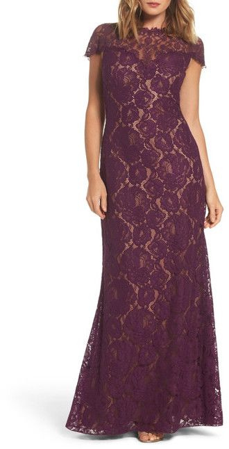 Tadashi Shoji Corded Lace A-Line Gown #fashion #style #love #purple #lace #dress #lacedress