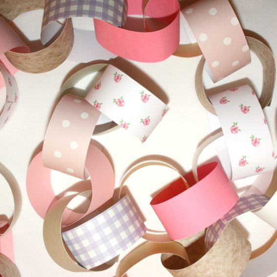 Vintage tea party themed paper chain kit @ stylemyparty.co.uk