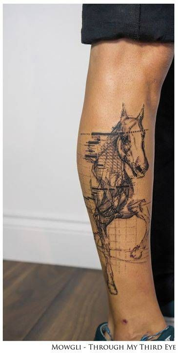 Graphic style horse tattoo named 'Dynamism.'