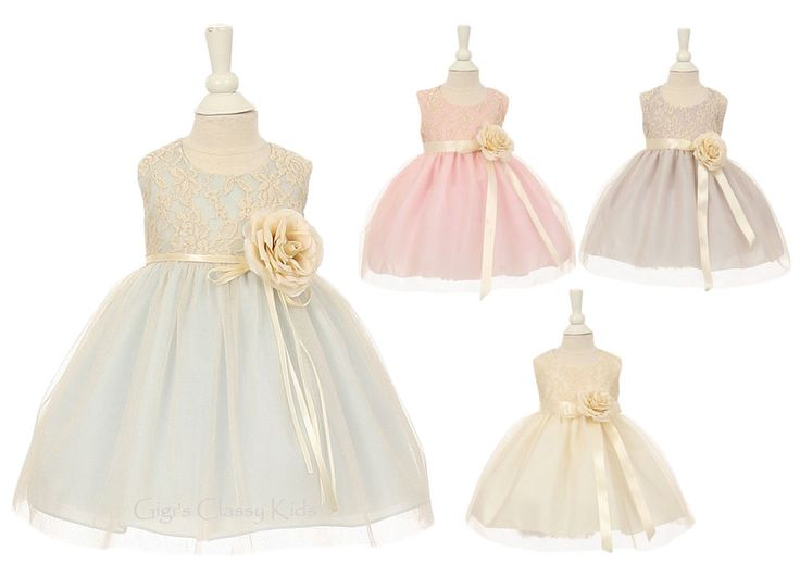 New Baby Flower Girl Two Tone Dress Pageant Wedding Birthday Easter Formal 1142…
