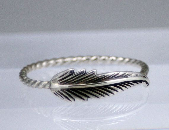 Sterling silver feather ring, feather ring, rope band, feather ring with rope band, statement, novelty, women, wedding on Etsy, £19.13
