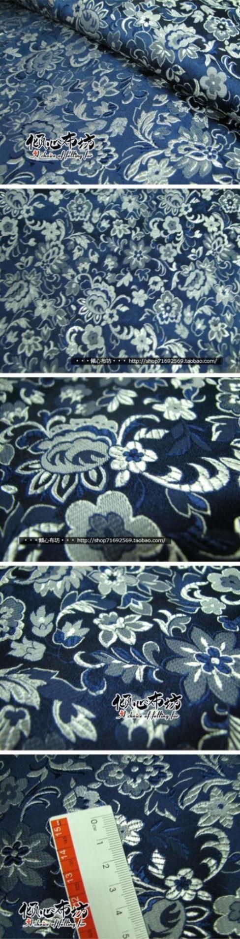 Этнической цветочные темно синий парчи ткань / шелковый атлас китайский стиль ткань / чонсам костюм одеждакупить в магазине DIAN FABRICнаAliExpress