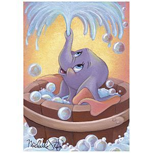 Disney ''Dumbo in Bubbles'' Gicle by Michelle St.Laurent | Disney Store''Dumbo in Bubbles'' Gicl�e by Michelle St.Laurent - Little Dumbo is having a fun bath as he blows soap bubbles with his trunk in this delightful picture. Created by artist Michelle St.Laurent, ''Dumbo in Bubbles'' will provide lots of good clean fun for any home.