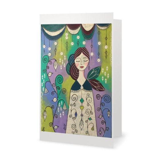 BLANK CARD 'Choose Joy'  mixed media artwork by MrsButtonsEmporium