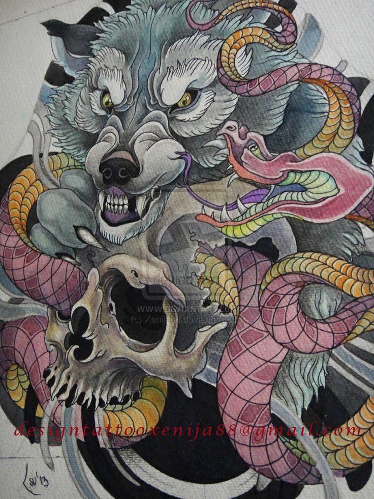 Japanese Wolf, Skull, & Viper tattoo design