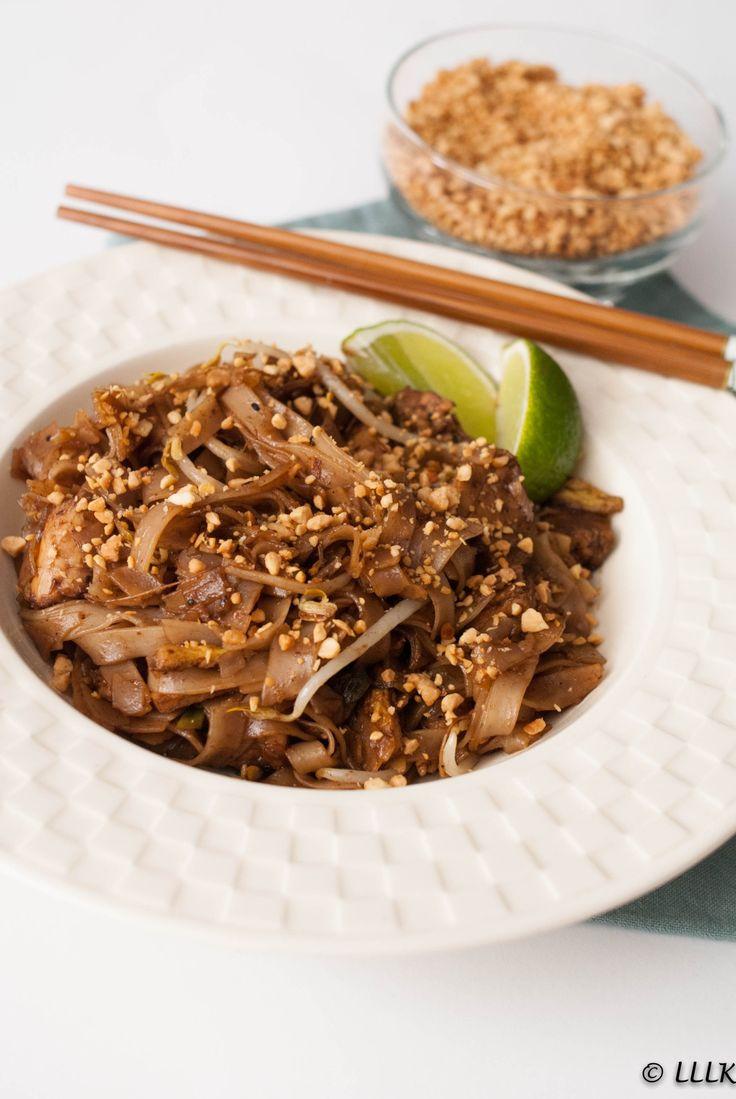 Pad thai met kip en pinda kruim