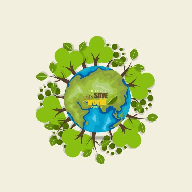 Save the world background with trees Free Vector