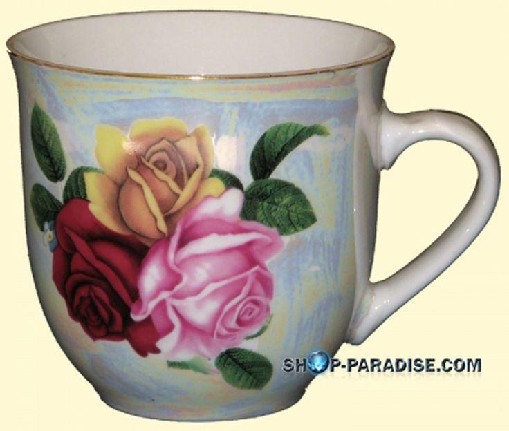 SHOP-PARADISE.COM:  Tassen Englische Strauß Porzellan Set 6 Becher 10,92 €