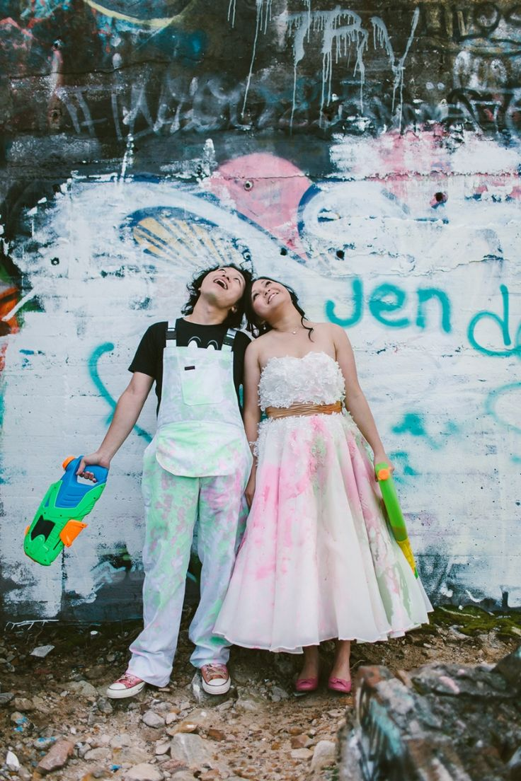 Trash the dress ideas. Fun with water pistols and paint.  Image: Cavanagh Photography http://cavanaghphotography.com.au