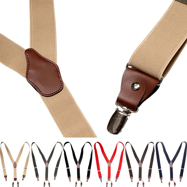 Mens Womens Clip-On Suspenders Leather Elastic Y-Shape Adjustable Braces Belts #hellobincom