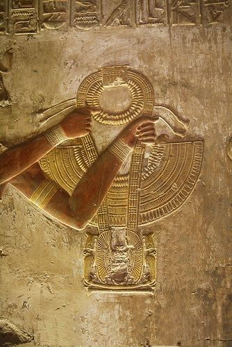 Temple of Seti I in Abydos. King presenting a Necklace TSA