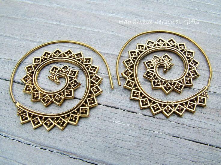Tribal sieraden - Messing oorbellen in etno-style, tribal. - Een uniek product van HandmadePersonalGifts op DaWanda