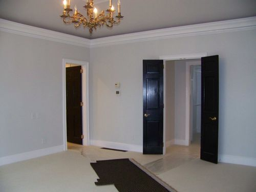 Horizon benjamin moore with black glossy doors loveeee for Horizon benjamin moore grey
