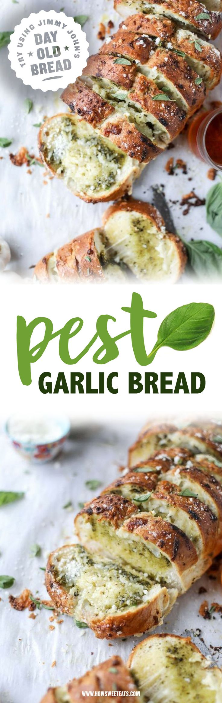 Cheesy Pesto Garlic Bread. Try using Jimmy John's Day Old Bread to make this yummy appetizer for the whole family!