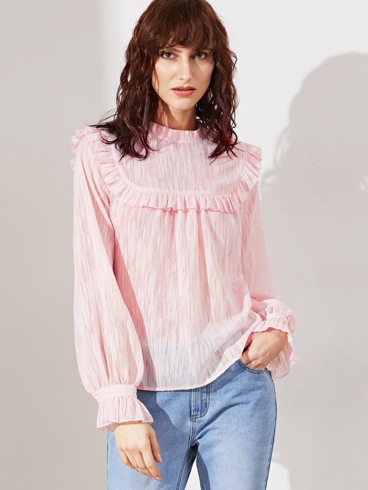 Shop Pink Buttoned Keyhole Back Ruffle Blouse online. SheIn offers Pink Buttoned Keyhole Back Ruffle Blouse & more to fit your fashionable needs.