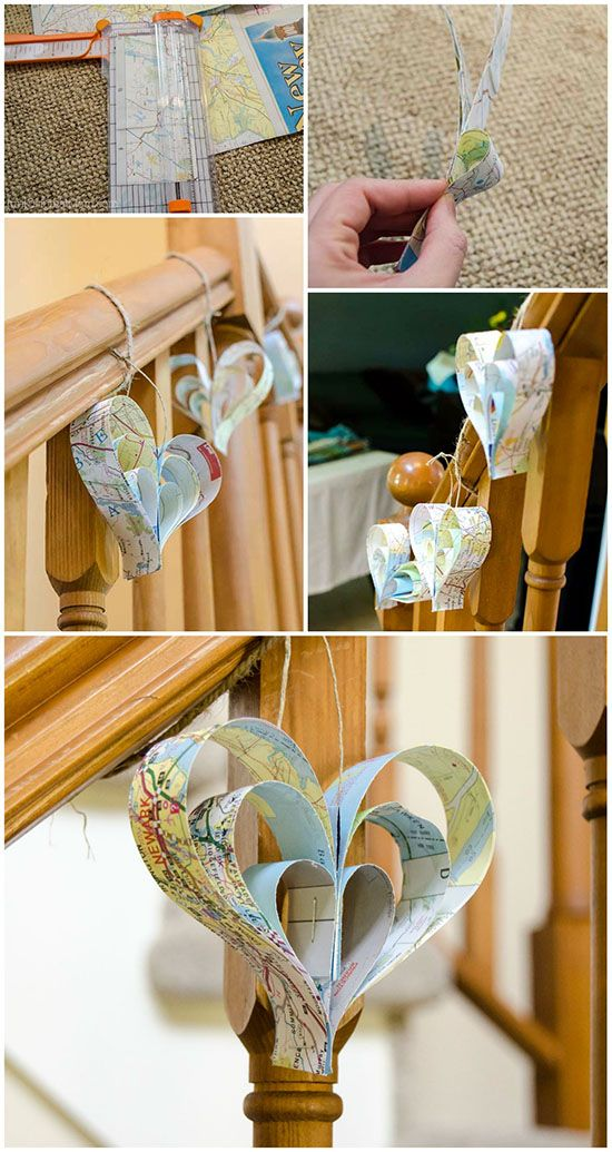 Easy DIY paper strip hearts made out of maps.  So great for a travel themed bridal shower or baby shower!