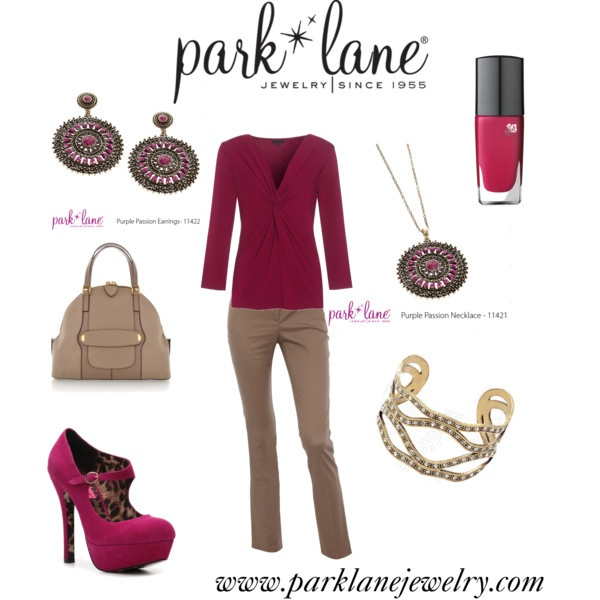Purple Passion!, created by parklanejewelry.polyvore.com  Park Lane Jewelry featured: Purple Passion necklace and earrings and A La Mode bracelet