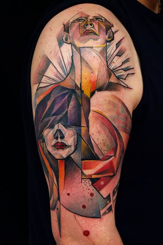 Cubism and subtle, subtle shading. Tattoos by Marie Kraus