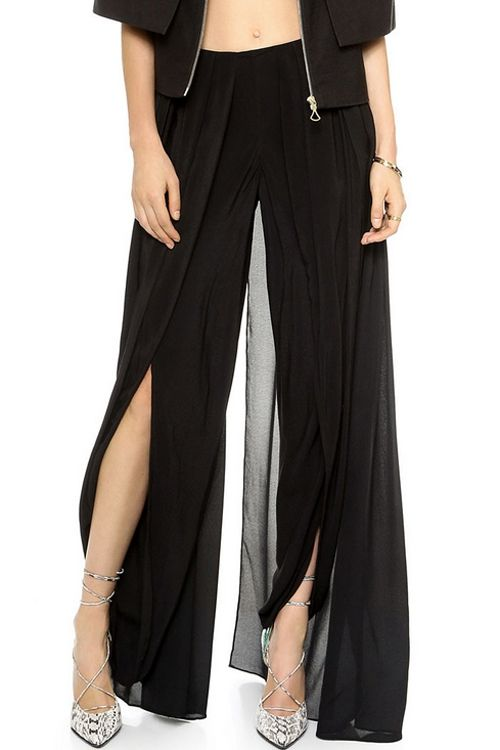 Solid Color High Slit Elastic Waist Pants BLACK: Pants | ZAFUL