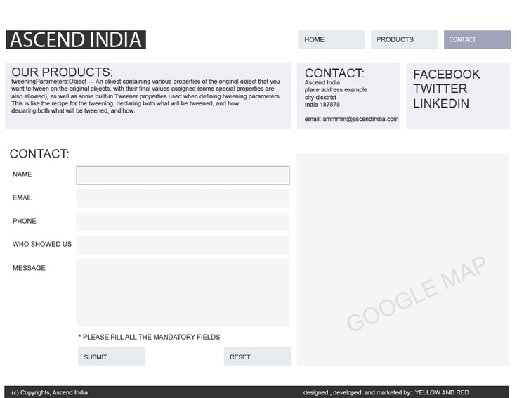 simple blue and purple color website design of Ascend India website, with google map integration