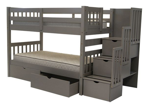 Bunk Beds Twin over Twin Stairway Gray + 2 Extra Drawers  Bunk bed king and Bed drawers