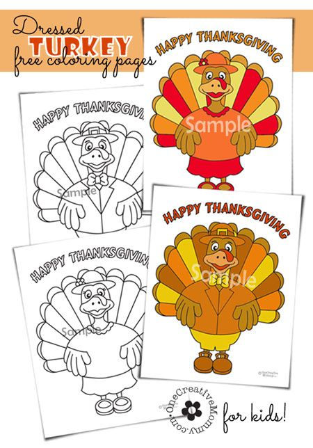 Free Thanksgiving coloring pages--While you are in the kitchen preparing TURKEY WITH DRESSING, why not let the kiddos make some DRESSED TURK...