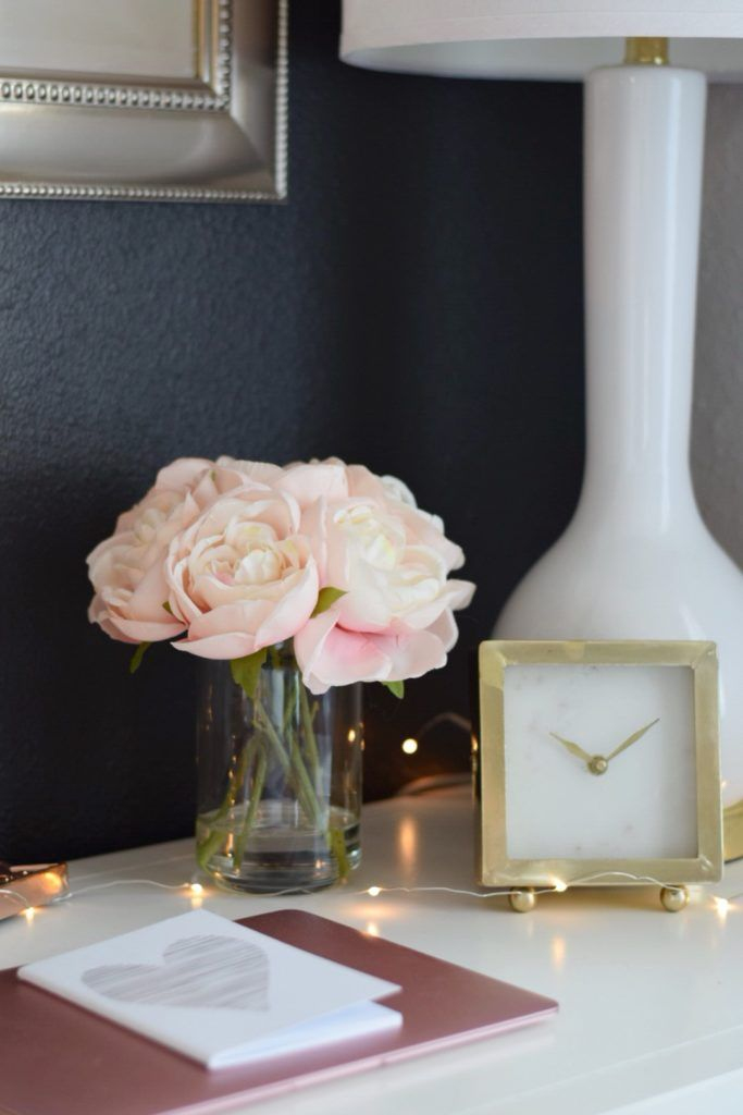 Adding pretty little accessories to your desktop creates the ultimate feminine desk. Don't be afraid to mix your metallics for added interest.  HomeGoods Sponsored Pin.