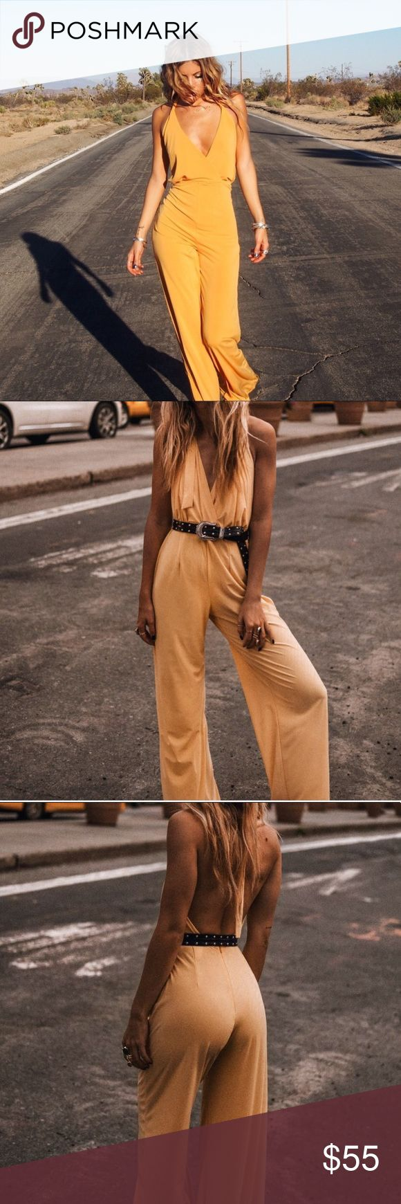 """Rat & Boa Yellow Jumpsuit Rat & Boa's '54 Jumpsuit'. Yellow halter deep plunge jumpsuit with low back. Easy to pair with a belt and super sexy. Never been worn. 100% polyester. 30.5"""" inseam. **Listed under Free People for exposure** Free People Pants Jumpsuits & Rompers"""
