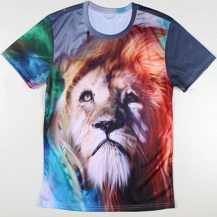 Alisister дроп-доставка свободного покроя 3d животных лев футболки печатаются футболки новинка животных пары футболку для мужчин / женщин