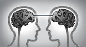 picture of building bridges - Direction communication business concept for building a bridge between two team members with symbols of human heads and brain made from tangled roads and highways connected together with a street as an icon of unity and agreement success - JPG