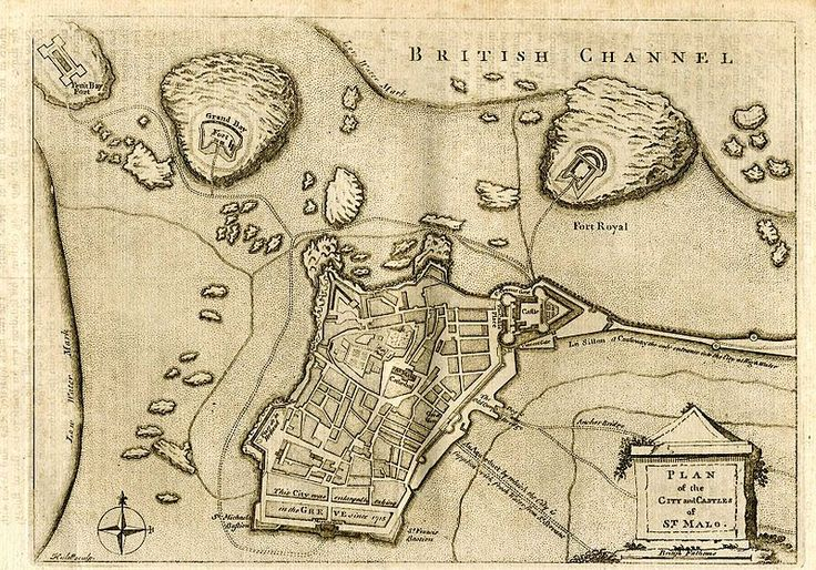 Old map of Saint-Malo