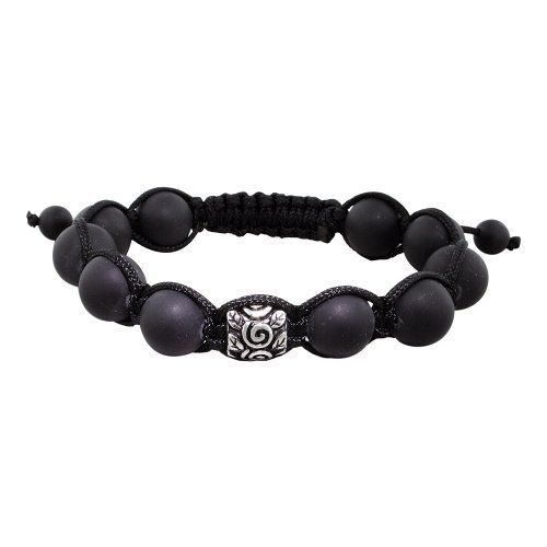 10mm Stainless Steel Curls and Leaves Bead and 10mm Matte Black Onyx Beads 11 Bead Shamballa Bracelet with Black String Avend Concepts. $21.99