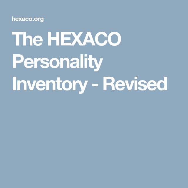 The HEXACO Personality Inventory - Revised
