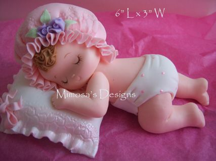Baby Girl Sleeping on Pillow-Cake topper