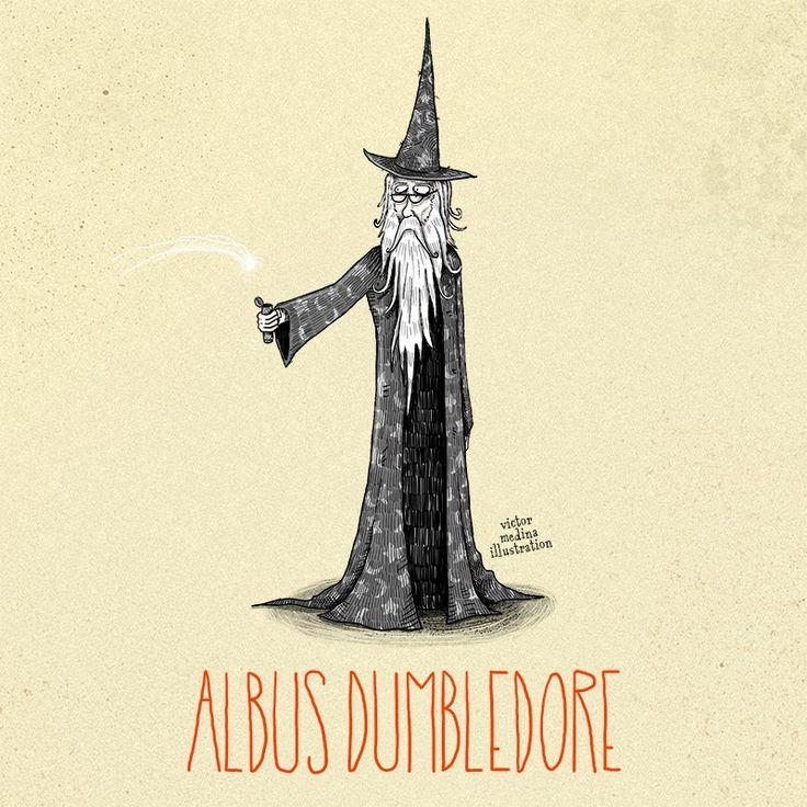 Tim Burton style Harry Potter characters: Albus Dumbledore