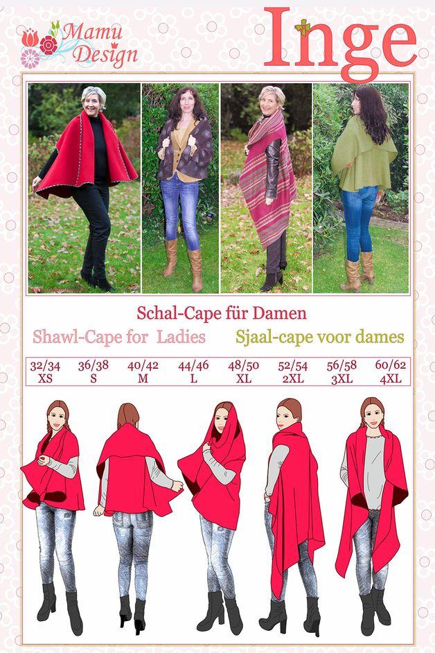 Oberteile & Jacken - INGE, Schnitt Schal-Cape Damen tragbar 2 Varianten - ein Designerstück von mamudesign bei DaWanda