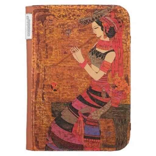 Women with Waist Flowers Chen Yongle oriental  artmKindle Case