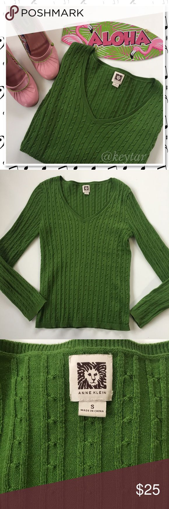Kelly Green Cable Knit V Neck Sweater Classy Kelly green sweater from Anne Klein. Cable knit V neck. Add this easy pop of color to any outfit. Perfect for the office with black slacks or ponte pants or wear with your favorite straight leg jeans. ❌ Steve Madden Mary Janes sold separately.  ❌ trades ❌ lowballs 👍offer button  🌟Bundle 2 or more items and save 10%🌟 Anne Klein Sweaters V-Necks