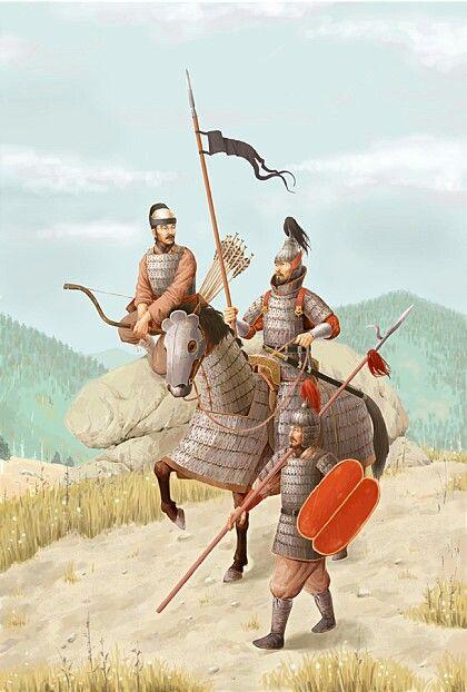 고구려 군사들 왼쪽:궁수,가운데:중무장 기병,오른쪽:(중무장) 창(보)병 Goguryeo army left:archer, middle:heavily armed cavalry,right:spear man